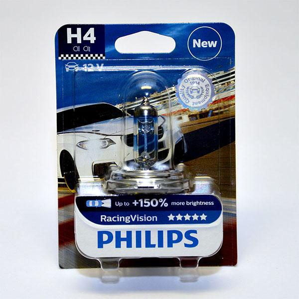 Лампа автомобильная галогенная Philips RacingVision +150, цоколь H4, 60 Вт12342RVB1Галогеновая лампа RacingVision, самая яркая лампа, разрешенная для использования на дорогах ? Повышение яркости света до 150%* ? Позволяет видеть дальше и реагировать быстрее ? Оптимизированы для зимнего освещения Управляя машиной на большой скорости на плохо освещенных проселочных дорогах, вы вынуждены полагаться на производительность фар. Если перед вами неожиданно появляется препятствие, главное — время реакции. Даже доля секунды может серьезно повлиять на вашу безопасность. Превосходные характеристики луча ламп Philips RacingVision позволяют быстрее определять опасную ситуацию и не терять управление автомобилем — независимо от дорожных условий.