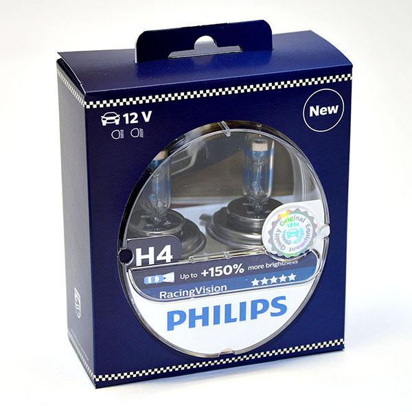 Лампа автомобильная галогенная Philips RacingVision +150, цоколь H4, 60 Вт, 2 шт12342RVS2Галогеновая лампа RacingVision, самая яркая лампа, разрешенная для использования на дорогах ? Повышение яркости света до 150%* ? Позволяет видеть дальше и реагировать быстрее ? Оптимизированы для зимнего освещения Управляя машиной на большой скорости на плохо освещенных проселочных дорогах, вы вынуждены полагаться на производительность фар. Если перед вами неожиданно появляется препятствие, главное — время реакции. Даже доля секунды может серьезно повлиять на вашу безопасность. Превосходные характеристики луча ламп Philips RacingVision позволяют быстрее определять опасную ситуацию и не терять управление автомобилем — независимо от дорожных условий.