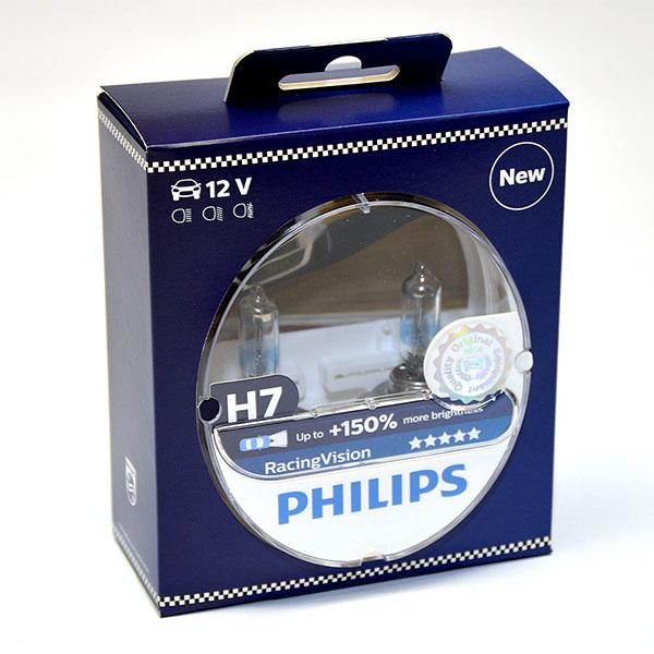 Лампа автомобильная галогенная Philips RacingVision +150, цоколь H7, 12V- 55W (PX26d), 2 шт12972RVS2Галогеновая лампа RacingVision, самая яркая лампа, разрешенная для использования на дорогах ? Повышение яркости света до 150%* ? Позволяет видеть дальше и реагировать быстрее ? Оптимизированы для зимнего освещения Управляя машиной на большой скорости на плохо освещенных проселочных дорогах, вы вынуждены полагаться на производительность фар. Если перед вами неожиданно появляется препятствие, главное — время реакции. Даже доля секунды может серьезно повлиять на вашу безопасность. Превосходные характеристики луча ламп Philips RacingVision позволяют быстрее определять опасную ситуацию и не терять управление автомобилем — независимо от дорожных условий.