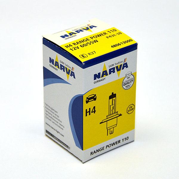 Лампа автомобильная галогенная Narva RangePower +110, цоколь H4, 60 Вт480613000Новые лампы Narva Range Power 110 улучшенная видимость до 110%. Благодаря мощному световому лучу водители смогут видеть дальше. За счет особой конструкции горелки мощность светового потока возрастает, что повышает безопасность и эффективность лампы.