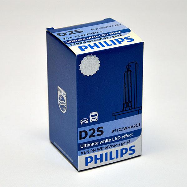 Лампа автомобильная ксеноновая Philips WhiteVision gen2, цоколь D2S, 85 Вт85122 WHV2C1? Мощный равномерный яркий белый свет ? Идеально сочетается со светодиодным освещением вашей машины ? Белый свет до 5000K на дороге ? Улучшение видимости на 120%* ? Лампа, разрешенная для использования на дорогах общего пользования С лампами Philips Xenon WhiteVision gen2 машина становится более заметной, а освещение дороги более ярким и равномерным. Xenon WhiteVision gen2 — идеальный выбор, если вы хотите сочетать ксенон со светодиодным освещением автомобиля.