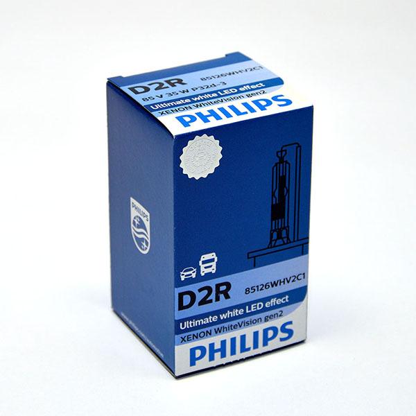 Лампа автомобильная ксеноновая Philips WhiteVision gen2, цоколь D2R, 85 Вт85126 WHV2C1? Мощный равномерный яркий белый свет ? Идеально сочетается со светодиодным освещением вашей машины ? Белый свет до 5000K на дороге ? Улучшение видимости на 120%* ? Лампа, разрешенная для использования на дорогах общего пользования С лампами Philips Xenon WhiteVision gen2 машина становится более заметной, а освещение дороги более ярким и равномерным. Xenon WhiteVision gen2 — идеальный выбор, если вы хотите сочетать ксенон со светодиодным освещением автомобиля.