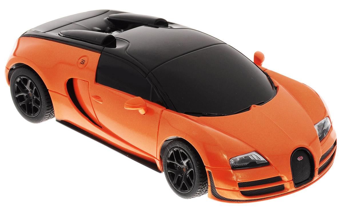 Rastar Радиоуправляемая модель Bugatti Veyron 16.4 Grand Sport Vitesse цвет оранжевый черный масштаб 1:2447000_ цвет оранжевый черныйРадиоуправляемая модель Rastar Bugatti Veyron 16.4 Grand Sport Vitesse привлечет внимание не только ребенка, но и взрослого. Модель является точной уменьшенной копией настоящего автомобиля в масштабе 1/24. Машина при помощи пульта управления движется вперед, дает задний ход, поворачивает налево и направо. Авто обладает высокой стабильностью движения, что позволяет полностью контролировать его процесс, управляя уверенно и без суеты. Такая машина станет отличным подарком не только автолюбителю, но и человеку, ценящему оригинальность и изысканность, а качество исполнения представит такой подарок в самом лучшем свете. Подарите вашему ребенку возможность почувствовать себя настоящим водителем. Радиоуправляемые игрушки способствуют развитию координации движений, моторики и ловкости. Машина работает от 3 батареек типа АА (не входят в комплект). Пульт управления работает от 2 батареек типа АА (не входят в комплект). Пульт управления работает на частоте 40 MHz.