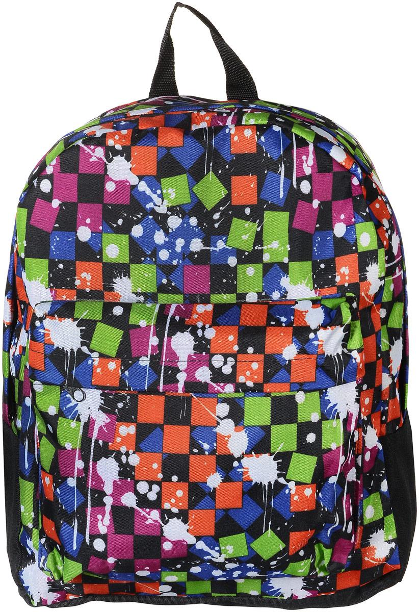 Рюкзак Аntan Кляксы, цвет: черный, мультиколор. 6-7/16-7/1Стильный рюкзак Аntan Кляксы выполнен из текстиля и оформлен оригинальным принтом. Рюкзак имеет одно основное отделение, которое закрывается на застежку-молнию. Снаружи, на передней стенке находится накладной объемный карман на застежке-молнии. Рюкзак оснащен широкими лямками регулируемой длины и ручкой для переноски в руке.