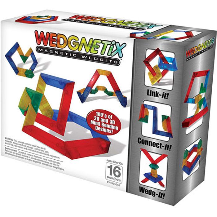 Wedgits Конструктор WEDGNETiX 351016351016Новая серия магнитных конструкторов от производителя WEDGITS. Стоит начать играть в WEDGNETIX, как понимаешь уникальные свойства этого конструктора! Когда видишь, что соединенные детали могут вращаться на 360 градусов, понимаешь, что дети могут легко научиться определять углы в 45, 90 или 180 градусов. WEDGNETIX поможет ребенку естественным образом научиться и понять как стоить двух и трехмерные геометрические фигуры. Конструктор состоит из: 4-х красных кристаллов с магнитами (12,5х3,5см), 4-х синих (10х3,5см), 4-х желтых (7,5х3,5см), 4-х зеленых (5х3,5см) + В наборе буклет с моделями для сборки.