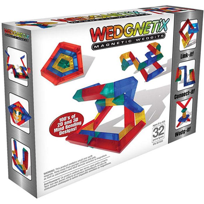Wedgits Конструктор WEDGNETiX351032Новая серия магнитных конструкторов от производителя WEDGITS. Стоит начать играть в WEDGNETIX, как понимаешь уникальные свойства этого конструктора! Когда видишь, что соединенные детали могут вращаться на 360 градусов, понимаешь, что дети могут легко научиться определять углы в 45, 90 или 180 градусов. WEDGNETIX поможет ребенку естественным образом научиться и понять как стоить двух и трехмерные геометрические фигуры. Конструктор состоит из: 8-и красных кристаллов с магнитами (12,5х3,5см), 8-ми синих (10х3,5см), 8-ми желтых (7,5х3,5см), 8-ми зеленых (5х3,5см) + В наборе буклет с моделями для сборки.