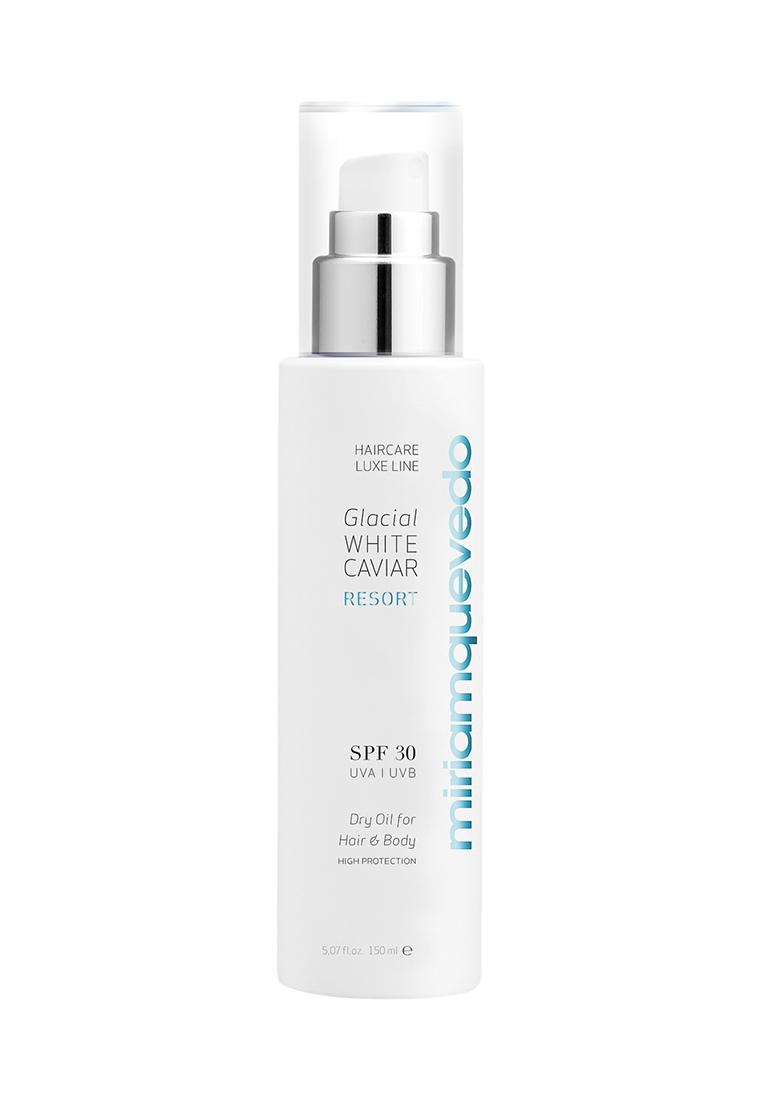 Miriam Quevedo Сухое масло для волос и тела SPF30 (Glacial White Caviar Resort SPF30 Dry Oil For Hair and Body) 150 млMQ345Защищает волосы и кожу от негативного воздействия UVA и UVB-излучения и свободных радикалов. Мгновенно создает на поверхности защитный барьер, предохраняющий от фотостарения и необратимых повреждений ДНК. Интенсивно увлажняет, восстанавливает эластичность и мягкость, придает блеск волосам, а коже – гладкость и шелковистость.