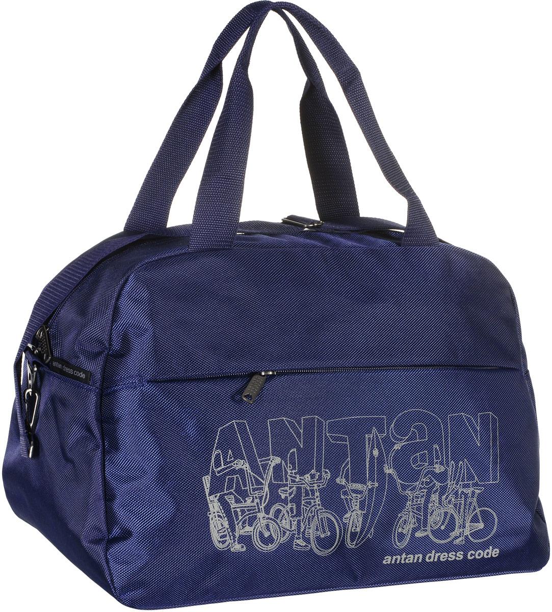Сумка дорожная Аntan Bike, цвет: темно-синий. 2-1682-168Вместительная дорожная сумка Аntan Bike, выполненная из полиэстера, оформлена на лицевой стороне фирменным принтом. Изделие имеет одно отделение, которое закрывается на застежку-молнию. Снаружи, на передней стенке расположен прорезной карман на застежке-молнии. Сумка оснащена двумя удобными ручками. В комплект входит съемный регулируемый плечевой ремень. Изделие имеет жесткое основание.