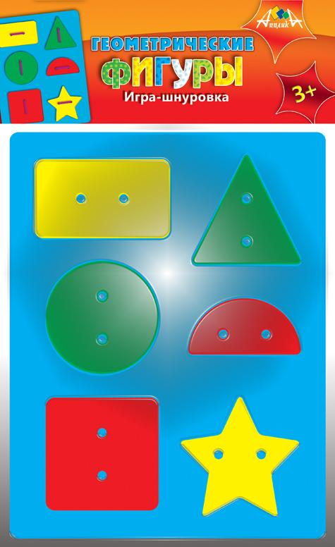 АппликА Игра-шнуровка Геометрические фигуры С2568-01С2568-01Развивающая игра для детей. Предназначена для развития мелкой моторики. Состав набора - вырубленная основа и 6 элементов из мягкого пластика, цветные шнурки.