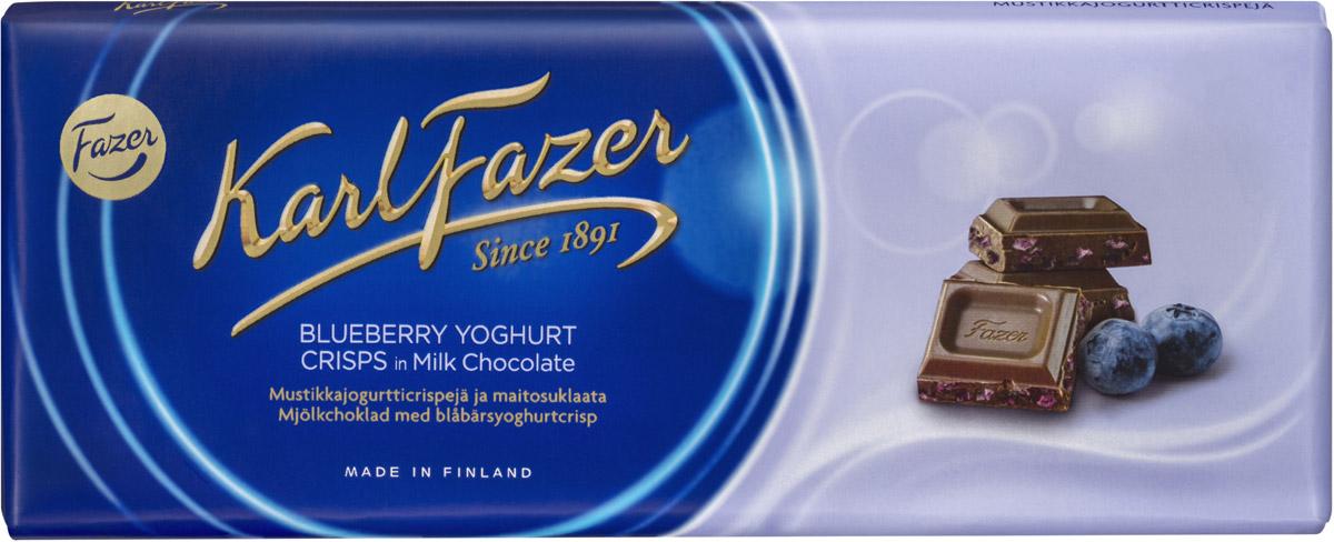 Karl Fazer Молочный шоколад с криспами черничного йогурта, 190 г5840Молочный шоколад Karl Fazer с криспами черничного йогурта до сих пор остается одним из самых востребованных и популярных среди всех продуктов линейки. Нежный шоколад с добавлением молока - лакомство для гурманов. Яркий свежий оттенок лета шоколаду придает черничный йогурт, так любимый многими детьми. Уважаемые клиенты! Обращаем ваше внимание, что полный перечень состава продукта представлен на дополнительном изображении.