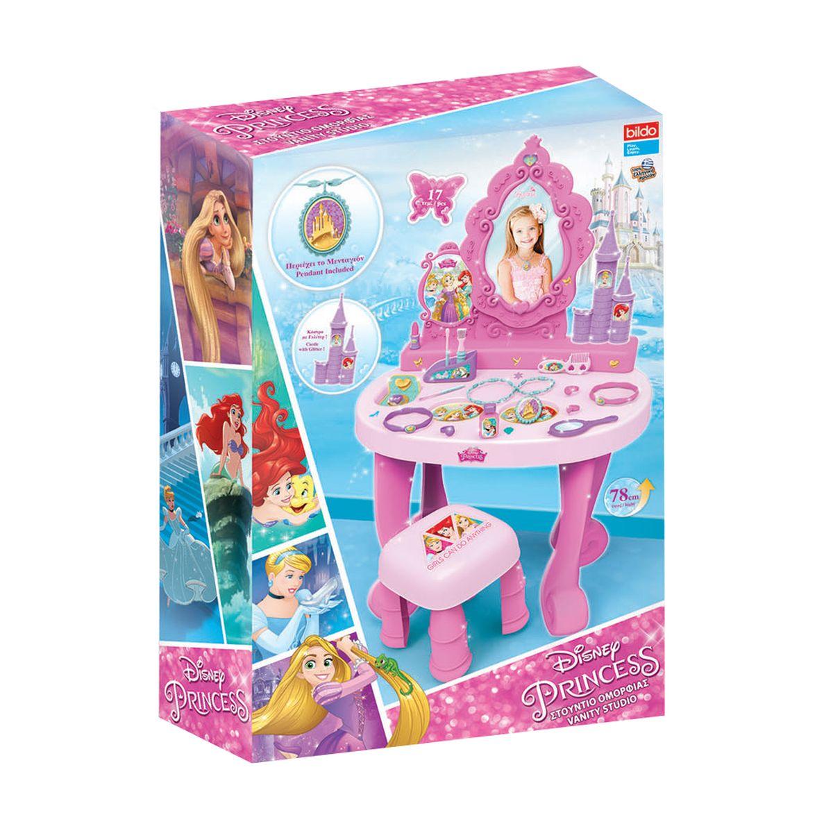 BILDO Игровая парикмахерская большая ПринцессаB 7124Игровая парикмахерская Принцесса, арт. В7124 Состоит из туалетного столика с аксессуарами и зеркалом, пуфика. В собранном виде высота 78 см.