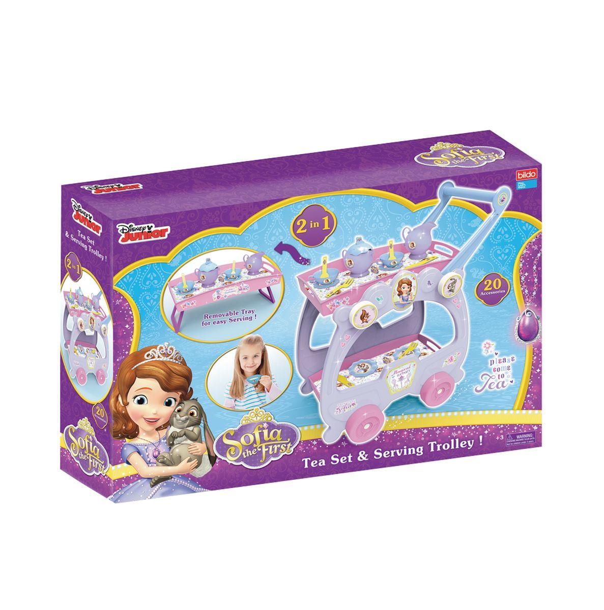 BILDO Игровой набор посуды с тележкой Принцесса София 2 в 1B 8506B 8506 Игровой набор посуды с тележкой Принцесса София 2 в1 В комплекте: столик, 2 чашечки, 2 блюдца, 2 ложки, 2 ножа, 2 вилки, 2 тарелки, чайник и кувшинчик для сливок(молока). Упаковка: Картонная коробка Размер упаковки ШГВ: 58,0 см.* 12,5 см.* 38,5 см. Размер игрушки тележки ШГВ:39,0 см.* 29,5 см.* 51,0 см. Размер игрушки столика ШГВ: 32,0 см.* 20,0 см.* 14,0 см. Возраст: 3+ Страна происхождения: Греция