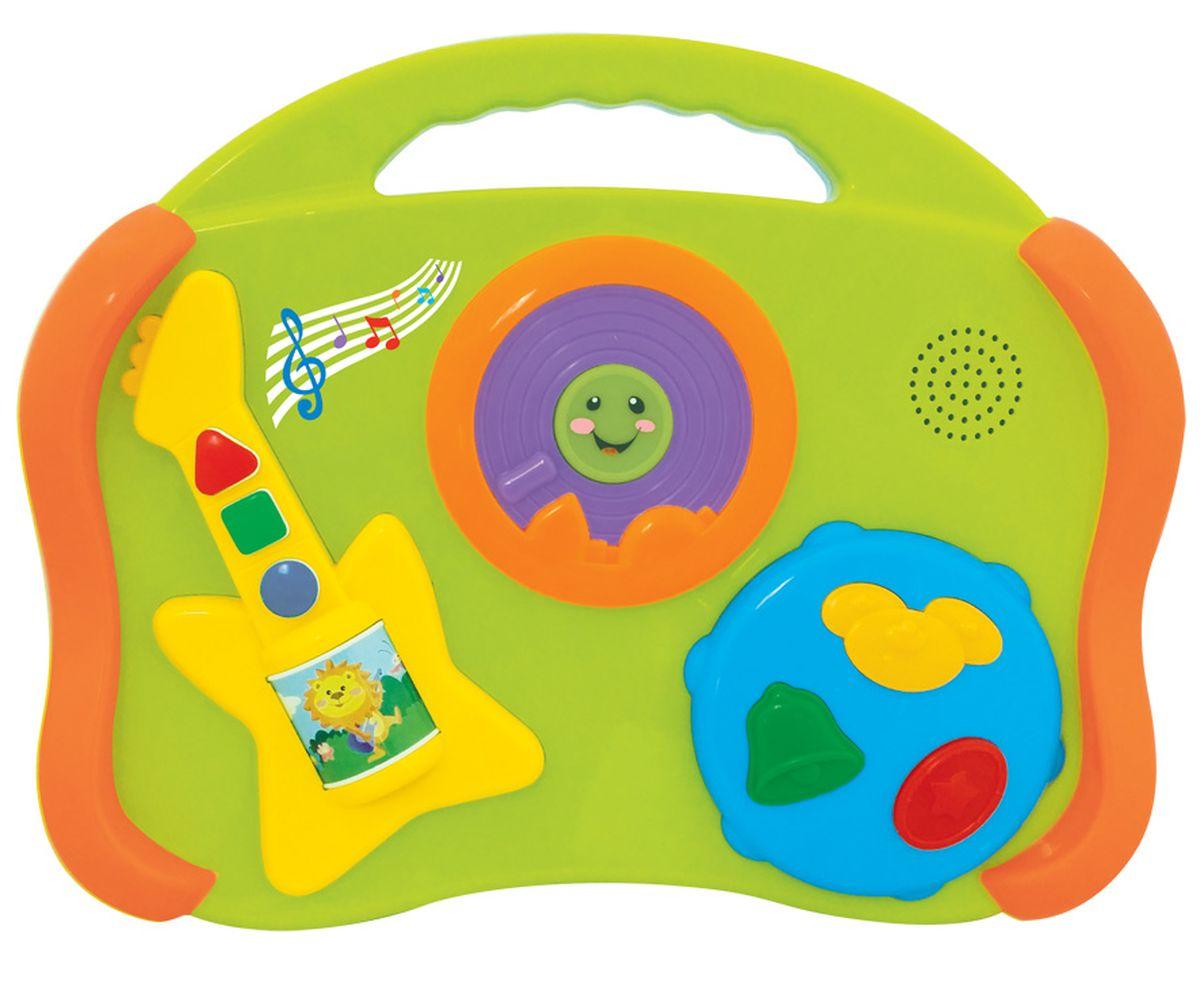 Kiddieland Развивающая игрушка Музыкальные инструменты 6 в 1KID 052886Яркая развивающая игрушка Kiddieland Музыкальные инструменты 6 в 1 поспособствует знакомству ребёнка с музыкальными инструментами и их звуками. Дети будут нажимать на кнопочки, тренируя мелкую моторику и радоваться музыкальным звукам. Кнопки имеют разный цвет и геометрическую форму, что можно использовать для обучения и расширения кругозора малыша. Особенности: Игрушка выполнена в виде игровой панели с многочисленными элементами и кнопками, стилизованными под музыкальные инструменты. Корпус игрушки имеет плавные очертания, без острых углов и выступов, на лицевой панели находится изображение гитары и бубна с разноцветными функциональными кнопочками. Музыкальная игрушка способна воспроизводить звуки 6 инструментов: барабана, пианино, гитары, губной гармошки, тарелок, колокольчиков. Игрушка имеет компактные размеры, лёгкий вес и удобную ручку для переноски. Игрушка снабжена звуковыми эффектами и позабавит кроху веселыми...