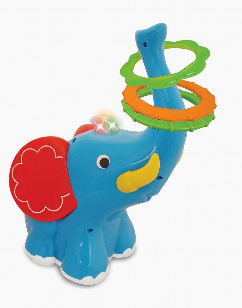 Kiddieland Развивающая игрушка Слон-кольцебросKID 053553Развивающая игрушка Kiddieland Слон-кольцеброс поможет развить вашему крохе глазомер, меткость, ловкость рук и координацию движений. Для весёлой игры нужно поставить слонёнка с поднятым вверх хоботом на небольшое расстояние, доступное для броска малыша и постараться забросить кольца на его хобот. Игрушка поднимет настроение игрокам световыми и звуковыми эффектами. Особенности: Игрушка выполнена в виде забавного слона голубого цвета с поднятым вверх хоботом и забавными красными ушами. На хобот слона можно набрасывать разноцветные колечки в комплекте, тренируя глазомер, ловкость рук и координацию движений. Корпус игрушки имеет плавные очертания, без острых углов и выступов, она устойчиво стоит на поверхности. Слон имеет компактные размеры и лёгкий вес. Игрушка снабжена звуковыми и световыми эффектами и позабавит кроху веселыми мелодиями и мигающими огоньками. Игрушка способствует развитию мелкой моторики,...