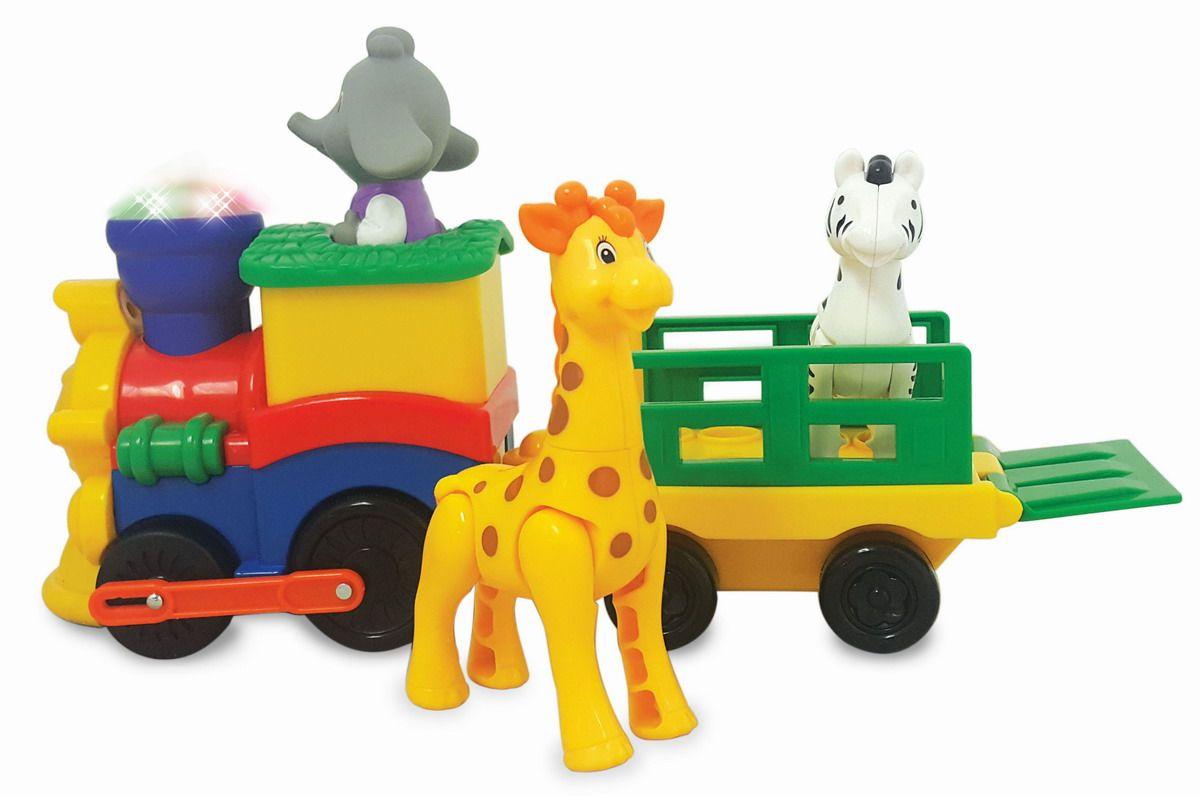 Kiddieland Развивающая игрушка Паровозик СафариKID 053884Развивающая игрушка Kiddieland Паровозик Сафари порадует малышей яркими насыщенными цветами и забавным мультяшным дизайном. С игрушкой можно весело провести время и разыграть много интересных сюжетов. Поезд состоит из локомотива и грузового состава, в котором едут звери из зоопарка. А весёлый машинист-слоник управляет им. Особенности: Игрушка выполнена в виде паровозика, состоящего из локомотива и грузового состава с фигурками животных для интересной сюжетной игры. Игрушка имеет яркий цвет и дизайн, корпус имеет плавные очертания. Головной состав дополняется фигуркой слоника-машиниста. Грузовой вагон имеет открывающийся задний борт, благодаря чему в нём можно разместит 2 фигурки: жирафа и зебру. Игрушка снабжена световыми и звуковыми эффектами и позабавит кроху разноцветными огоньками, веселыми мелодиями и звуками мотора. Игрушка снабжена механизмом, позволяющим ей самостоятельно двигаться вперёд, который...