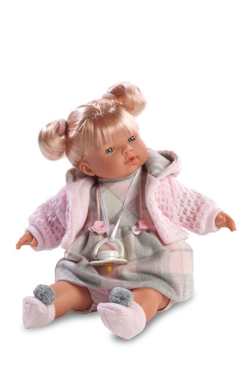 Llorens Кукла Аитана 33 смL 33264Кукла из ПВХ с мягконабивным туловищем из синтетического волокна. Кукла умеет плакать и говорить мама, папа. Кукла одета в серое платье с розовой кофточкой, носочки розового цвета. К кукле прилагается соска. Если вынуть соску изо рта куклы, то она начинает плакать. Для того чтобы она перестала плакать, поместите соску в рот куклы. Глазки у куклы не закрываются. Волосы прошиты по всей голове. Упакована в подарочную упаковку.