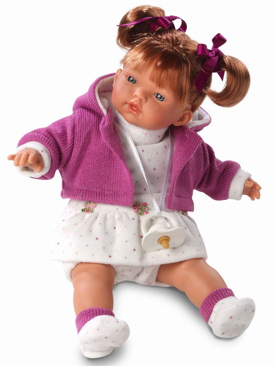 Llorens Кукла Алиса 33 смL 33268Очаровательная малышка Алиса станет основой для сюжетных игр девочек, помогая им интересно проводить досуг и развивать воображение. Разнообразить тематические развлечения помогут звуковые эффекты игрушки в виде воспроизведения ей слов мама и папа, а также правдоподобный плач. Кукла выглядит очень реалистично и напоминает маленькую девочку с веснушками на щёчках и очаровательным личиком с выразительной мимикой. У Алисы красивые рыжие волосы, заправленные в забавные хвостики с бантиками, но их можно уложить и в другие прически. На игрушке одето белое платьице в горошек и шортики в тон, а также яркая кофточка с капюшоном и мягкие носочки. Алиса не расстаётся со своей любимой пустышкой, которую можно удобно повесить за верёвочку ей на шею. Куколка выполнена из материалов, которые официально сертифицированы и абсолютно безопасны для детского здоровья. Ножки и ручки игрушки можно приводить в движение во время игр, а голову поворачивать. К кукле...