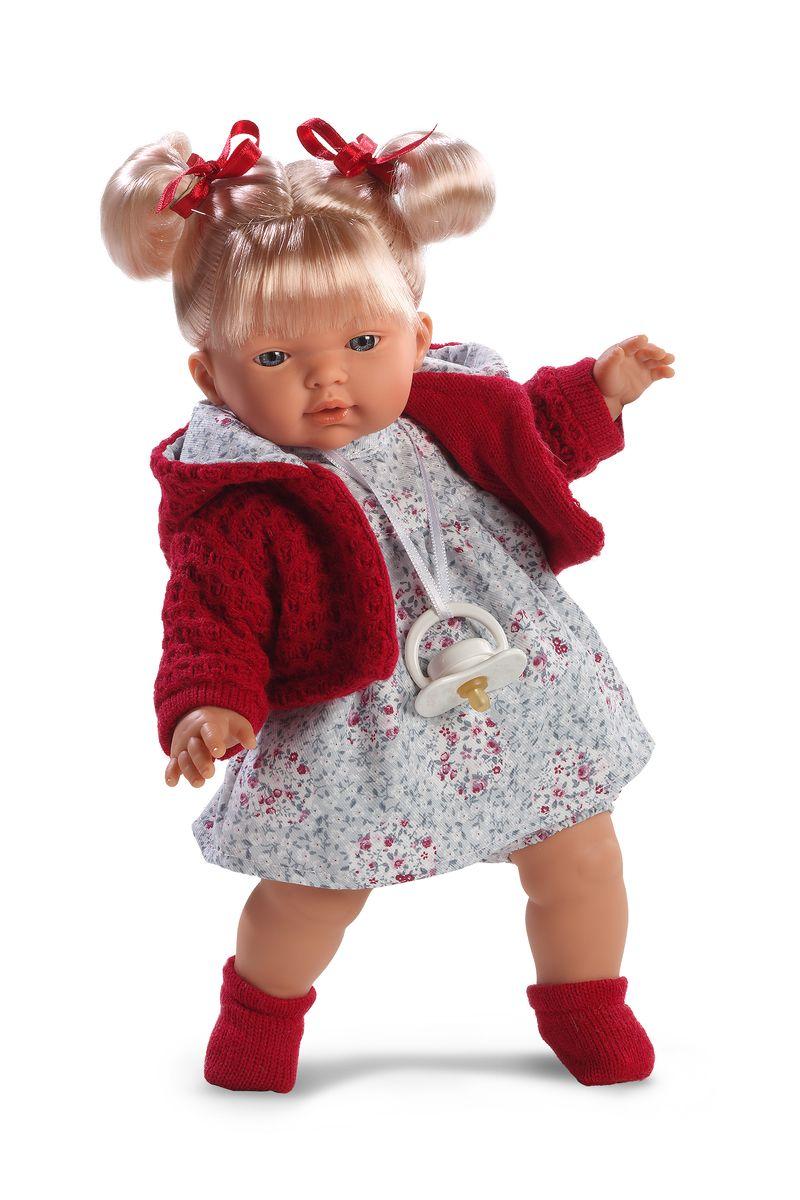 Llorens Кукла Изабела 33 смL 33270Кукла из ПВХ с мягконабивным туловищем с наполнителем из синтетического волокна. Кукла умеет плакать и говорить мама, папа. Одета в светлое платье, красную кофточку, носочки. К кукле прилагается соска. Если вынуть соску изо рта куклы, то она начинает плакать. Для того чтобы она перестала плакать - поместите соску в рот куклы. Глазки у куклы не закрываются. Упакована в подарочную упаковку.