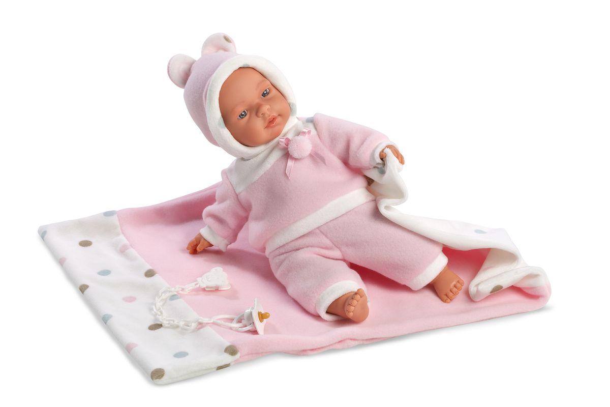 Llorens Кукла Люсия с одеялом 33 смL 33403Кукла из ПВХ, умеет плакать и говорить мама, папа. Кукла одета в розовую кофточку, штанишки, шапочку. В комплекте имеется одеяльце и пустышка. Глазки у куклы не закрываются. Упакована в подарочную упаковку.