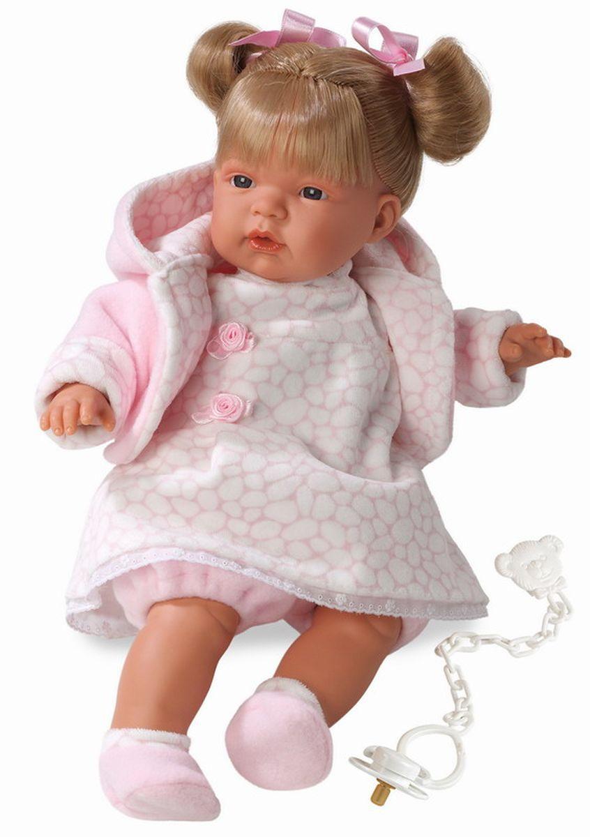 Llorens Кукла Люсия 38 смL 38306Кукла из ПВХ с мягконабивным туловищем с наполнителем из синтетического волокна. Без механизмов и звуковых эффектов. Кукла одета в светлое платье с розовой кофточкой, носочки. Глазки у куклы не закрываются. Волосы прошиты по всей голове. Упакована в подарочную упаковку.