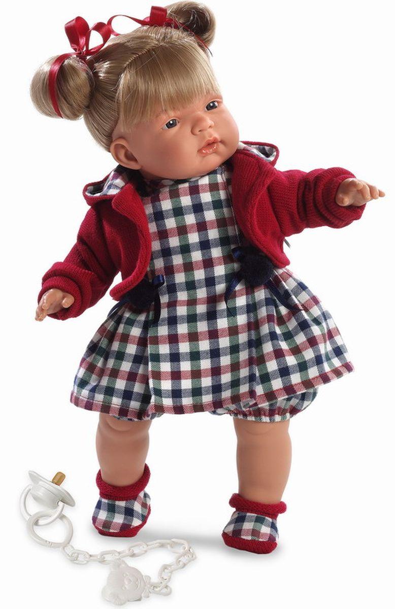 Llorens Кукла Катя 38 смL 38308Кукла из ПВХ с мягконабивным туловищем с наполнителем из синтетического волокна. Без механизмов и звуковых эффектов. Кукла одета в клетчатое платье с красной кофтой, носочки. Глазки у куклы не закрываются. Волосы прошиты по всей голове. Упакована в подарочную упаковку.