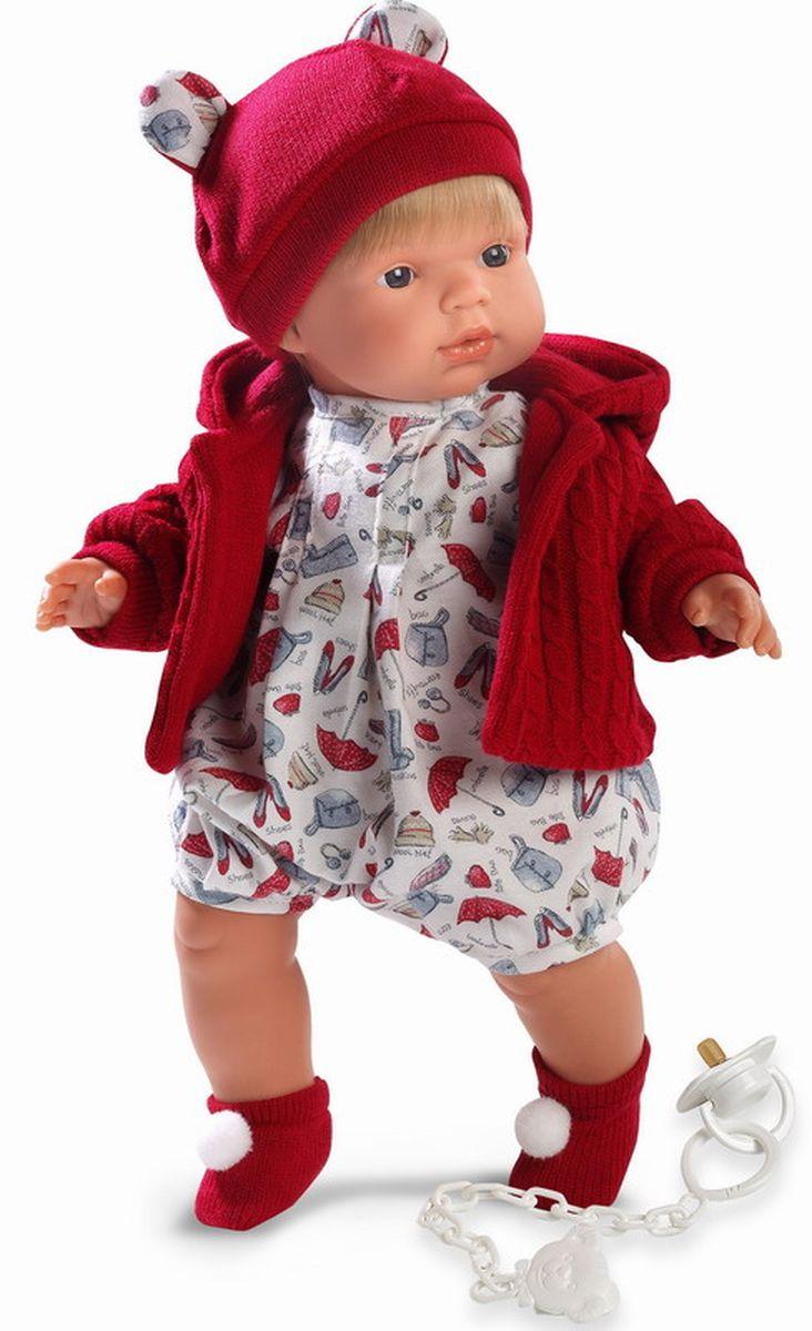 Llorens Кукла Саша 38 смL 38535Кукла из ПВХ с мягконабивным туловищем из синтетического волокна. Без механизмов и звуковых эффектов. Кукла одета в светлое боди с красной кофточкой, шапочку, носочки. К кукле прилагается соска. Глазки у куклы не закрываются. Упакована в подарочную упаковку.