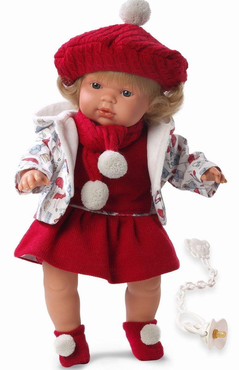 Llorens Кукла Клавдия 38 смL 38536Кукла из ПВХ с мягконабивным туловищем с наполнителем из синтетического волокна. Кукла умеет плакать и говорить мама, папа. Одета в красное платье, белую курточку, шарфик, берет, носочки. К кукле прилагается соска. Если вынуть соску изо рта куклы, то она начинает плакать. Для того чтобы она перестала плакать - поместите соску в рот куклы. Глазки у куклы не закрываются. Волосы прошиты по всей голове. Упакована в подарочную упаковку.
