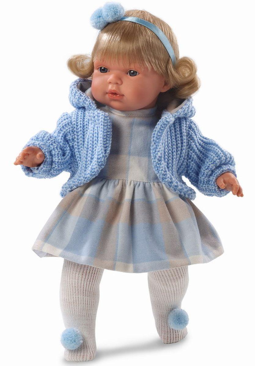 Llorens Кукла Шарлота 38 смL 38540Кукла из ПВХ с мягконабивным туловищем с наполнителем из синтетического волокна. Кукла умеет плакать и говорить мама, папа. Одета в платье, голубую кофточку, колготки. К кукле прилагается соска. Если вынуть соску изо рта куклы, то она начинает плакать. Для того чтобы кукла перестала плакать - поместите соску обратно в рот. Глазки у куклы не закрываются. Волосы прошиты по всей голове. Упакована в подарочную упаковку.