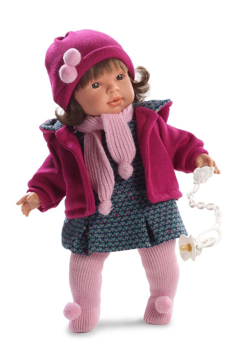 Llorens Кукла Карла 42 смL 42126Кукла из ПВХ с мягконабивным туловищем из синтетического волокна. Без механизмов и звуковых эффектов. Кукла одета в серое платье, розовую кофточку, шарфик, шапочку, колготки. Глазки у куклы не закрываются. Волосы прошиты по всей голове. К кукле прилагается соска. Упакована в подарочную упаковку.