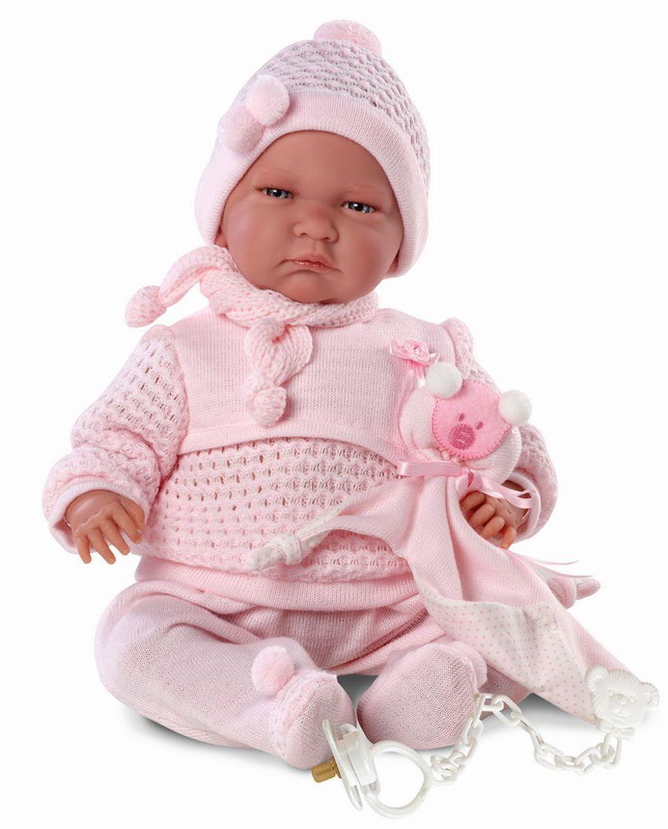 Llorens Пупс озвученный ЛалаL 74016Пупс LIorens Лала порадует вашу малышку и доставит ей много удовольствия от часов, посвященных игре с ним. Куколка выполнена в виде младенца-девочки. Эта кукла - реалистичная копия настоящей новорожденной. Малышка одета в очаровательные штанишки с помпонами и кофточку, декорированную шарфиком. На голове розовая шапочка. У куклы очаровательные серые глаза и длинные ресницы. Ручки, ножки и голова подвижны. В комплект входят соска на цепочке и одеялко. При нажатии на животик куколка начнет плакать и говорить мама и папа. Игра с куклой разовьет в вашей малышке фантазию и любознательность, поможет овладеть навыками общения и научит ролевым играм, воспитает чувство ответственности и заботы. Порадуйте ее таким замечательным подарком!