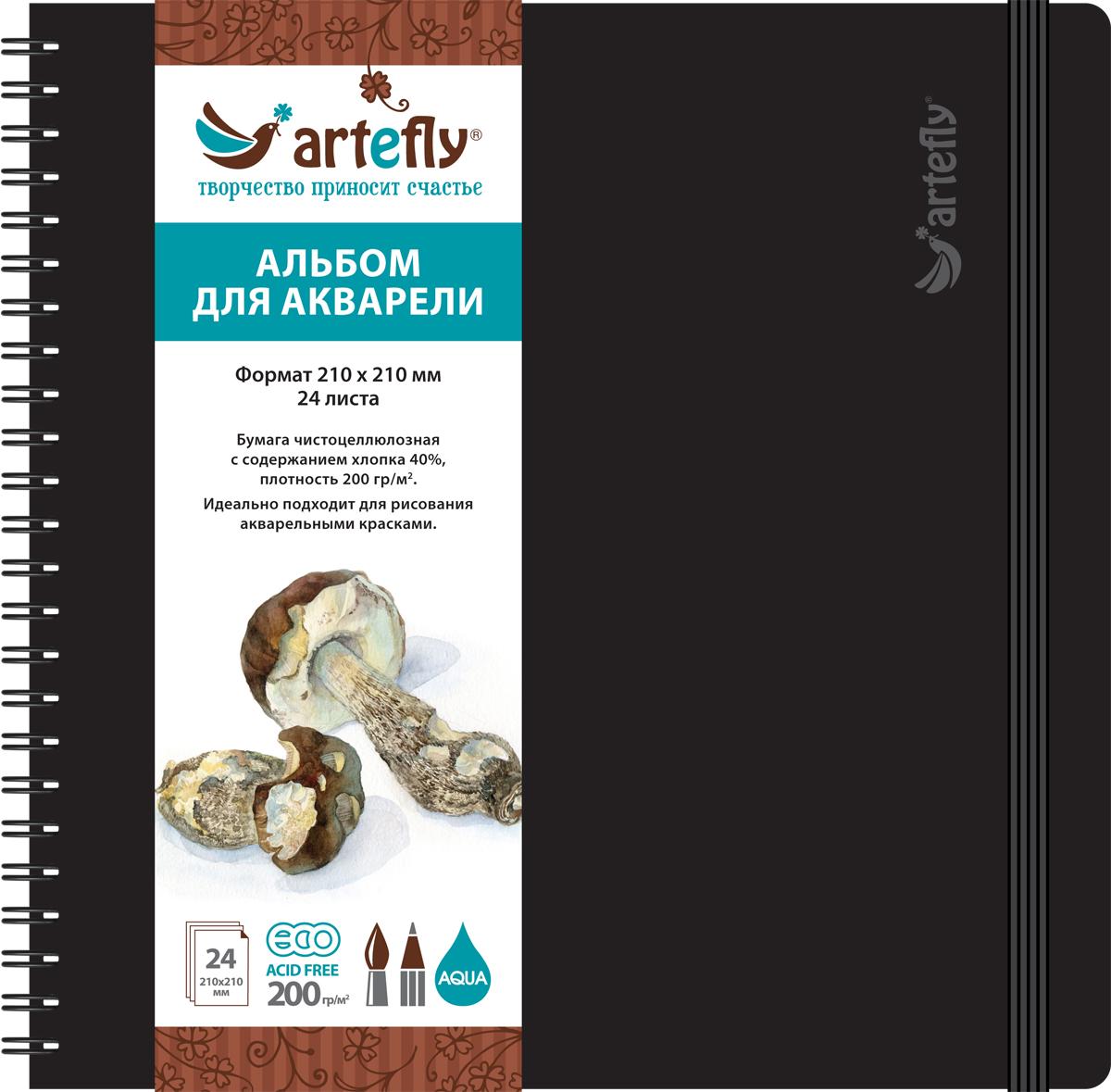 Artefly Альбом для акварели 24 листа 21 х 21 смAFNB-2241Альбом идеально подходит для рисования в нем акварельными красками. Удобная эластичная застежка защитит Вашу записную книжку. Переплет на спирали делает альбом еще более удобным и позволяет с легкостью переворачивать страницы.