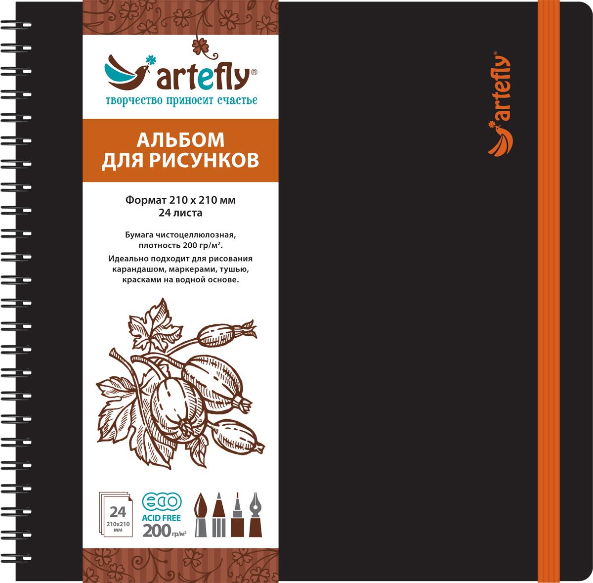 Artefly Альбом для рисования 24 листа цвет черный AFNB-2251AFNB-2251Альбом Artefly идеально подходит для рисования в нем карандашами, маркерами, тушью, красками на водной основе. Внутренний блок включает 24 листа. Удобная эластичная застежка защитит ваш альбом, а переплет на спирали сделает его еще более удобным и позволит с легкостью переворачивать листы. Имеется карман для эскизов.