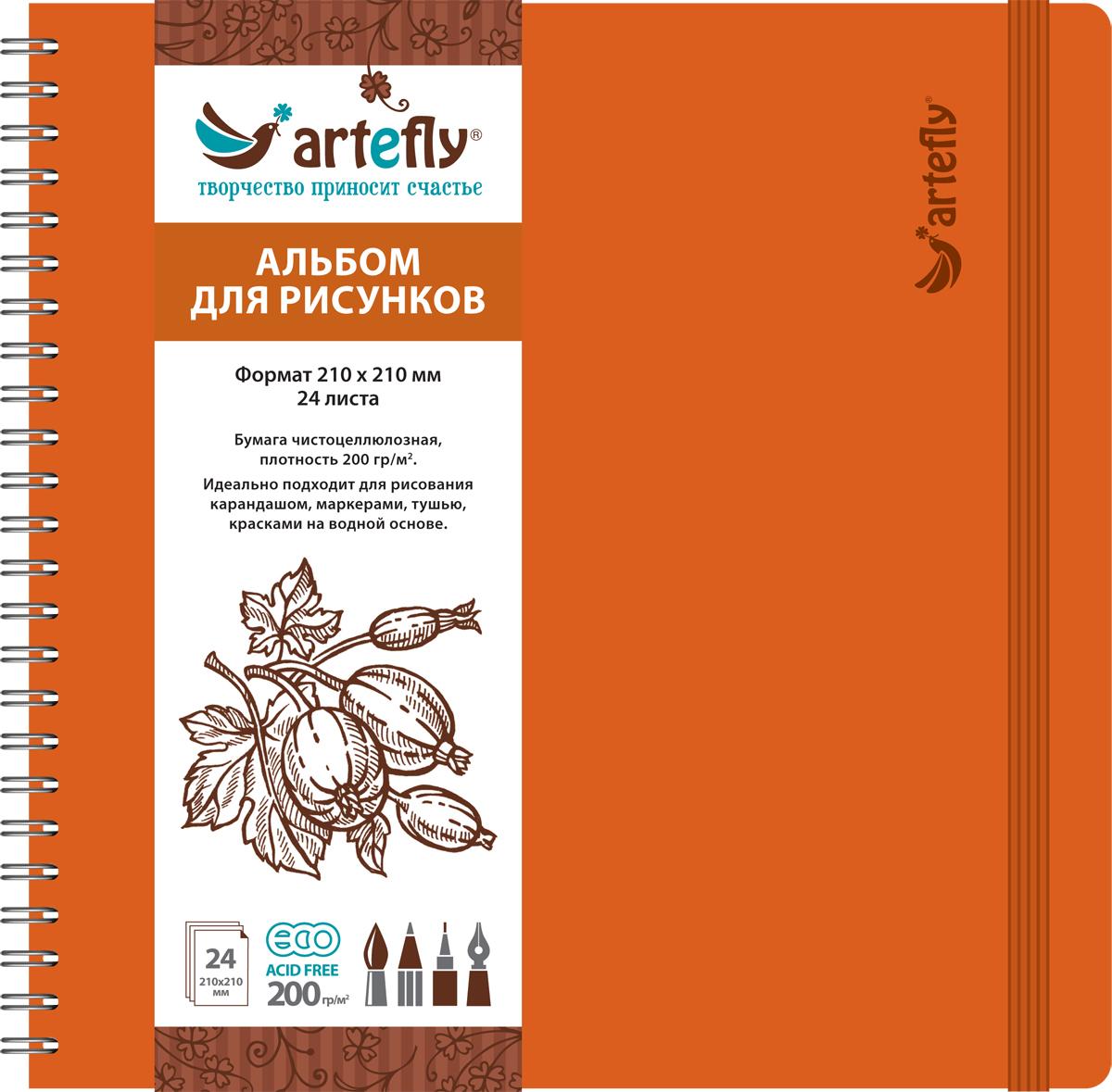 Artefly Альбом для рисования 24 листа цвет оранжевый AFNB-2255AFNB-2255Альбом идеально подходит для рисования в нем карандашом, маркерами, тушью, красками на водной основе. Удобная эластичная застежка защитит Вашу записную книжку. Переплет на спирали делает альбом еще более удобным и позволяет с легкостью переворачивать страницы.