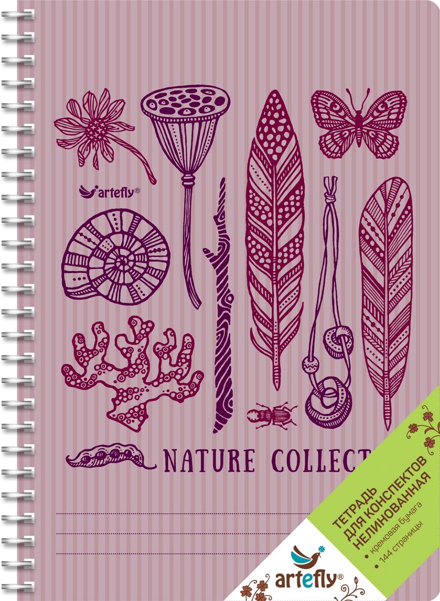 Artefly Тетрадь Nature Collection 72 листа без разметкиAFNB-AN2-VI-URТетрадь нелинованная для ведения записей. Красивая и яркая обложка раскрасит твои студенческие будни, такую тетрадь удобно использовать для конспектов. Приятная бумага кремового цвета не оставит тебя равнодушным.
