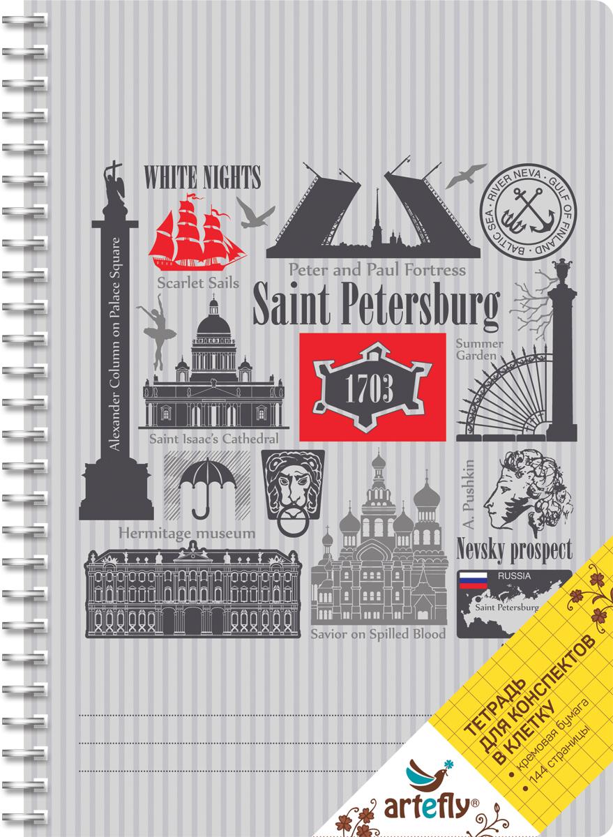 Artefly Тетрадь Санкт-Петербург 72 листа в клетку цвет серыйAFNB-CT5-GR-SQТетрадь в клетку для ведения записей. Красивая и яркая обложка раскрасит твои студенческие будни, такую тетрадь удобно использовать для конспектов. Приятная бумага кремового цвета не оставит тебя равнодушным.