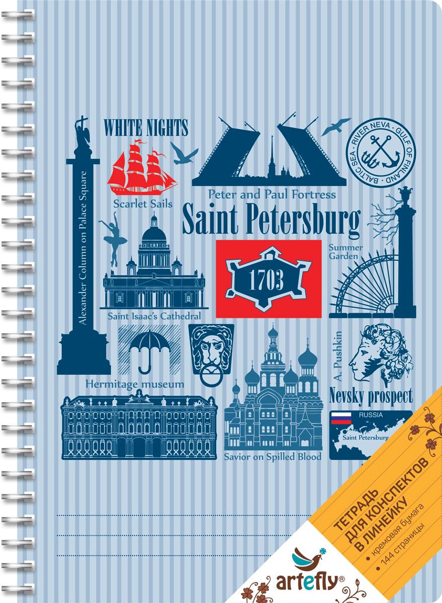 Artefly Тетрадь Санкт-Петербург 72 листа в линейкуAFNB-CT5-SBТетрадь в линейку для ведения записей. Красивая и яркая обложка раскрасит твои студенческие будни, такую тетрадь удобно использовать для конспектов. Приятная бумага кремового цвета не оставит тебя равнодушным.