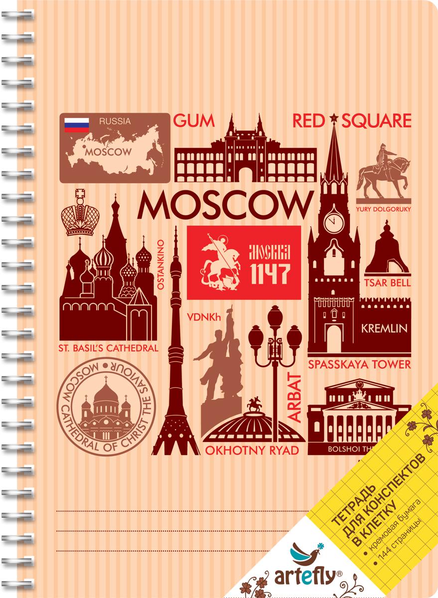 Artefly Тетрадь Москва 72 листа в клеткуAFNB-CT6-OR-SQТетрадь в клетку для ведения записей. Красивая и яркая обложка раскрасит твои студенческие будни, такую тетрадь удобно использовать для конспектов. Приятная бумага кремового цвета не оставит тебя равнодушным.