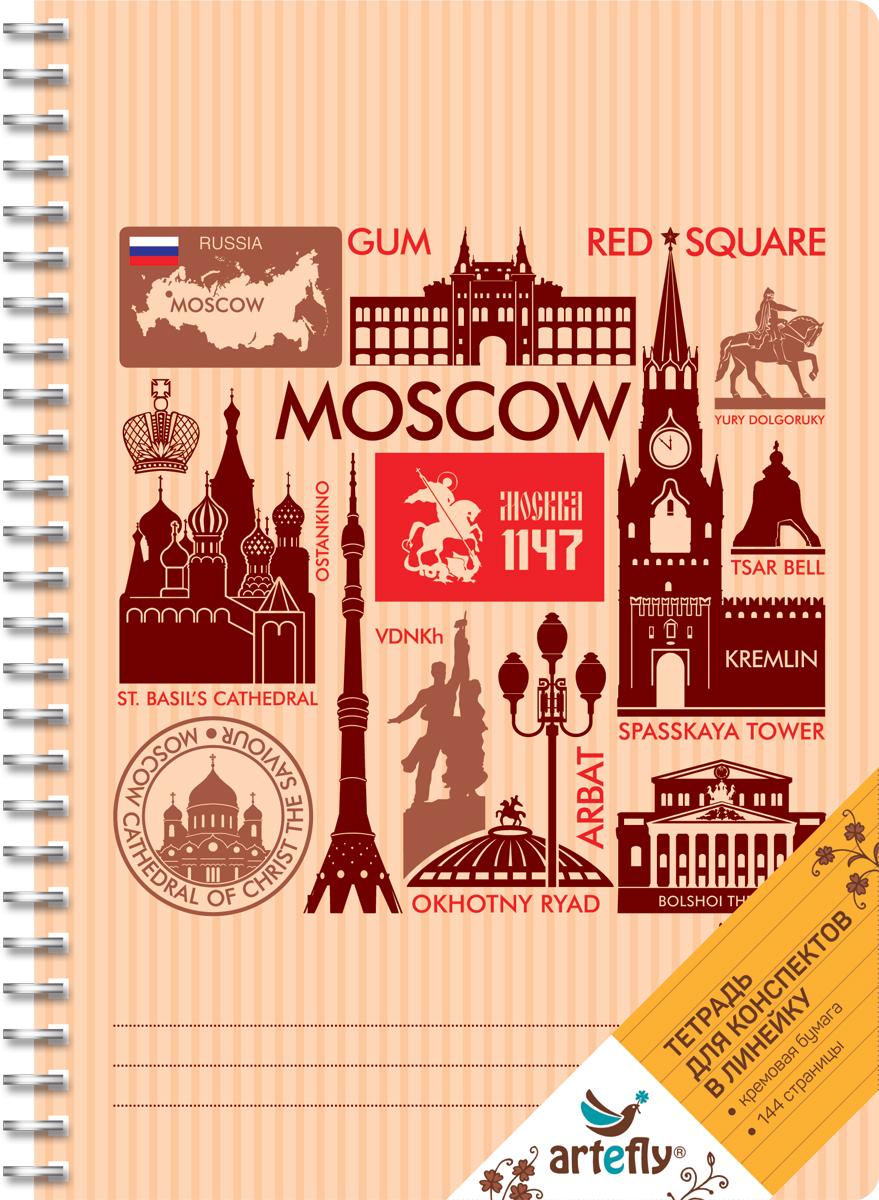 Artefly Тетрадь Москва 72 листа в линейкуAFNB-CT6-ORТетрадь в линейку для ведения записей. Красивая и яркая обложка раскрасит твои студенческие будни, такую тетрадь удобно использовать для конспектов. Приятная бумага кремового цвета не оставит тебя равнодушным.