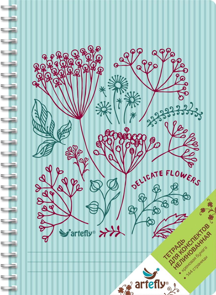 Artefly Тетрадь Delicate Flowers 72 листа без разметкиAFNB-FL2-BL-URТетрадь Artefly Delicate Flowers предназначена для ведения записей. Ее удобно использовать для конспектов. Красивая и яркая обложка с закругленными углами раскрасит студенческие будни. Внутренний блок представлен 72 листами и скреплен спиралью. Приятная бумага кремового цвета без линовки никого не оставит равнодушным.