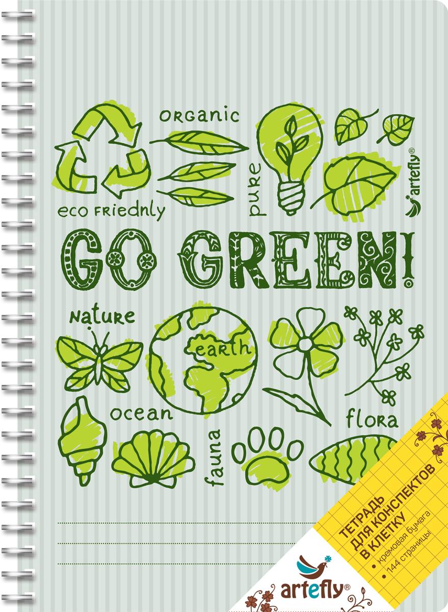 Artefly Тетрадь Go Green 72 листа в клеткуAFNB-GG-GR-SQТетрадь в клетку для ведения записей. Красивая и яркая обложка раскрасит твои студенческие будни, такую тетрадь удобно использовать для конспектов. Приятная бумага кремового цвета не оставит тебя равнодушным.