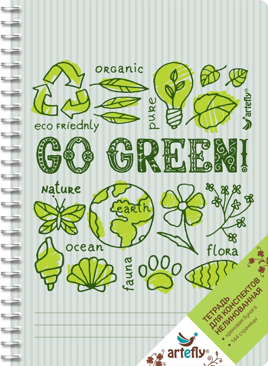 Artefly Тетрадь Go Green 72 листа без разметкиAFNB-GG-GR-URТетрадь нелинованная для ведения записей. Красивая и яркая обложка раскрасит твои студенческие будни, такую тетрадь удобно использовать для конспектов. Приятная бумага кремового цвета не оставит тебя равнодушным.