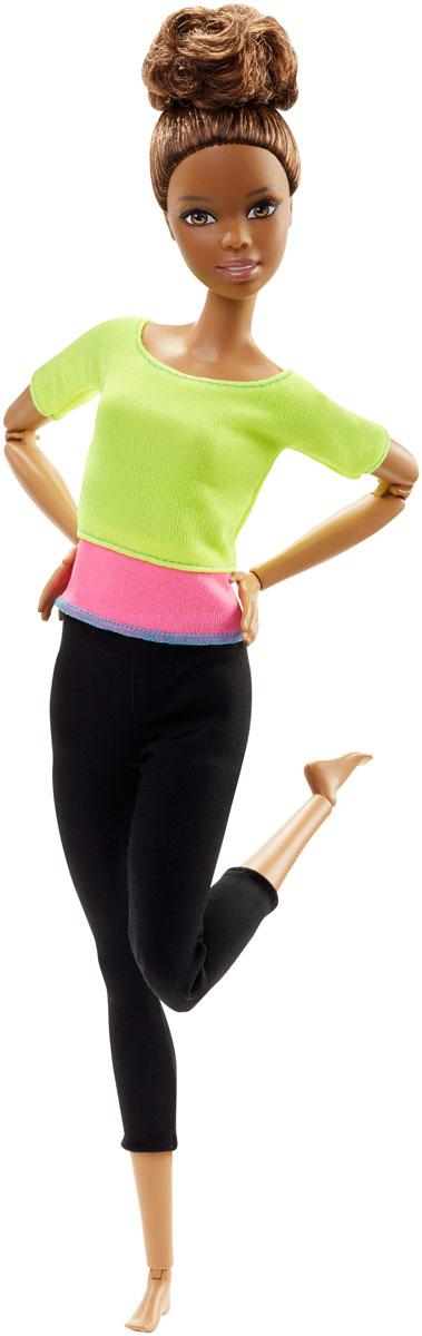 Barbie Кукла Безграничные движения цвет одежды салатовый розовый черныйDHL81_DHL83Очаровательная куколка Barbie Безграничные движения порадует вашу малышку и доставит ей много удовольствия от часов, посвященных игре с ней. Кукла-мулатка с забранными волосами одета в спортивные черные брючки и яркую кофточку. Кукла может похвастаться невиданными ранее возможностями, она впишется в любой сюжет и повторит любую позу! Смотрите, что она умеет делать, совсем как люди: кататься на велосипеде, играть на гитаре, заниматься гимнастикой, сидеть, скрестив ноги, фотографировать себя на смартфон, блистать на показе мод... В ваших руках ей все доступно! У куклы множество шарниров: верхняя часть рук, локти, запястья, торс, бедра, ноги над коленями, колени и щиколотки - свобода движений просто феноменальная! Кукла Barbie Безграничные движения - самая подвижная Барби!