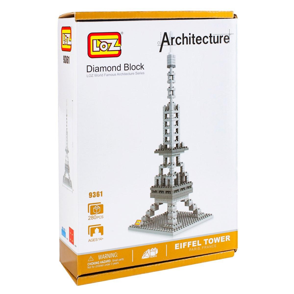 Loz Конструктор Эйфелева башня9361Конструктор Loz. Серия: Архитектура. Эйфелева башня. Конструктор серии Архитектура собирается из модных в последнее время нано-блоков, что позволяет придать конечной модели максимально приближенный к оригиналу вид. Собирая башню, ребенок будет развивать внимательность, усидчивость, логику и пространственное воображение. А собранная модель станет отличном украшением детской. Для детей от 9 лет. В набор входит 280 деталей конструктора и подробная инструкция.