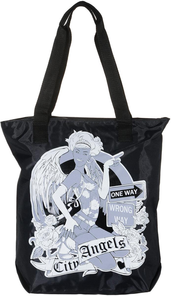Сумка женская Аntan Citi Angels, цвет: черный. 1-581-58Модная женская сумка Аntan Citi Angels, выполненная из текстиля, оформлена на лицевой стороне оригинальным принтом. Изделие имеет одно отделение, которое закрывается на застежку-молнию. Внутри сумки находится нашивной карман на застежке-молнии. Сумка оснащена двумя удобными ручками.