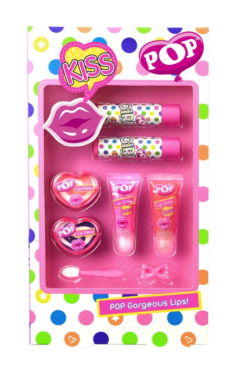 Markwins Игровой набор детской декоративной косметики для губ POP3600251Состав набора: блески для губ в футлярах 2 шт., блески для губ в баночках 2 шт., блески для губ в тубах 2 шт., аппликатор 1 шт., заколочка для волос 1 шт.