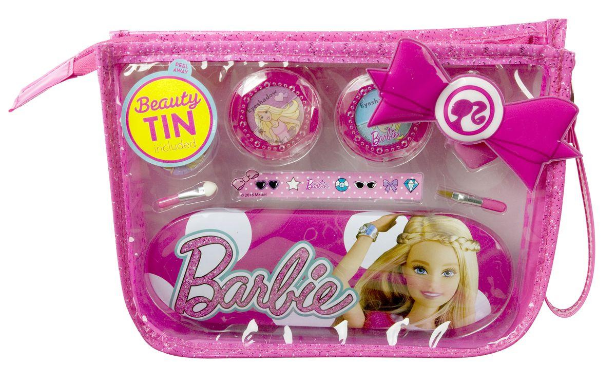 Markwins Игровой набор детской декоративной косметики Barbie в сумочке 96004519600451Состав набора: двойные тени для век 2 шт., блеск для губ в баночке 1 шт., аппликатор для нанесения теней 1 шт., кисть для нанесения блеска для губ 1 шт., заколочка для волос 1 шт., пенал 1 шт., сумочка 1 шт., наклейки.