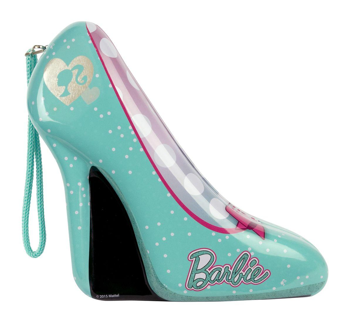 Markwins Игровой набор детской декоративной косметики Barbie в туфельке цвет зеленый9600651Состав набора: лак для ногтей на водной основе 1 шт., лаки на водной основе для дизайна ногтей 2 шт., блёстки в баночке 1 шт., 1 комплект накладных ногтей (10 шт.), клейкая основа под комплект накладных ногтей 1 шт., пинцет 1шт., кольца 2 шт., жестяная ёмкость в форме туфельки 1 шт.