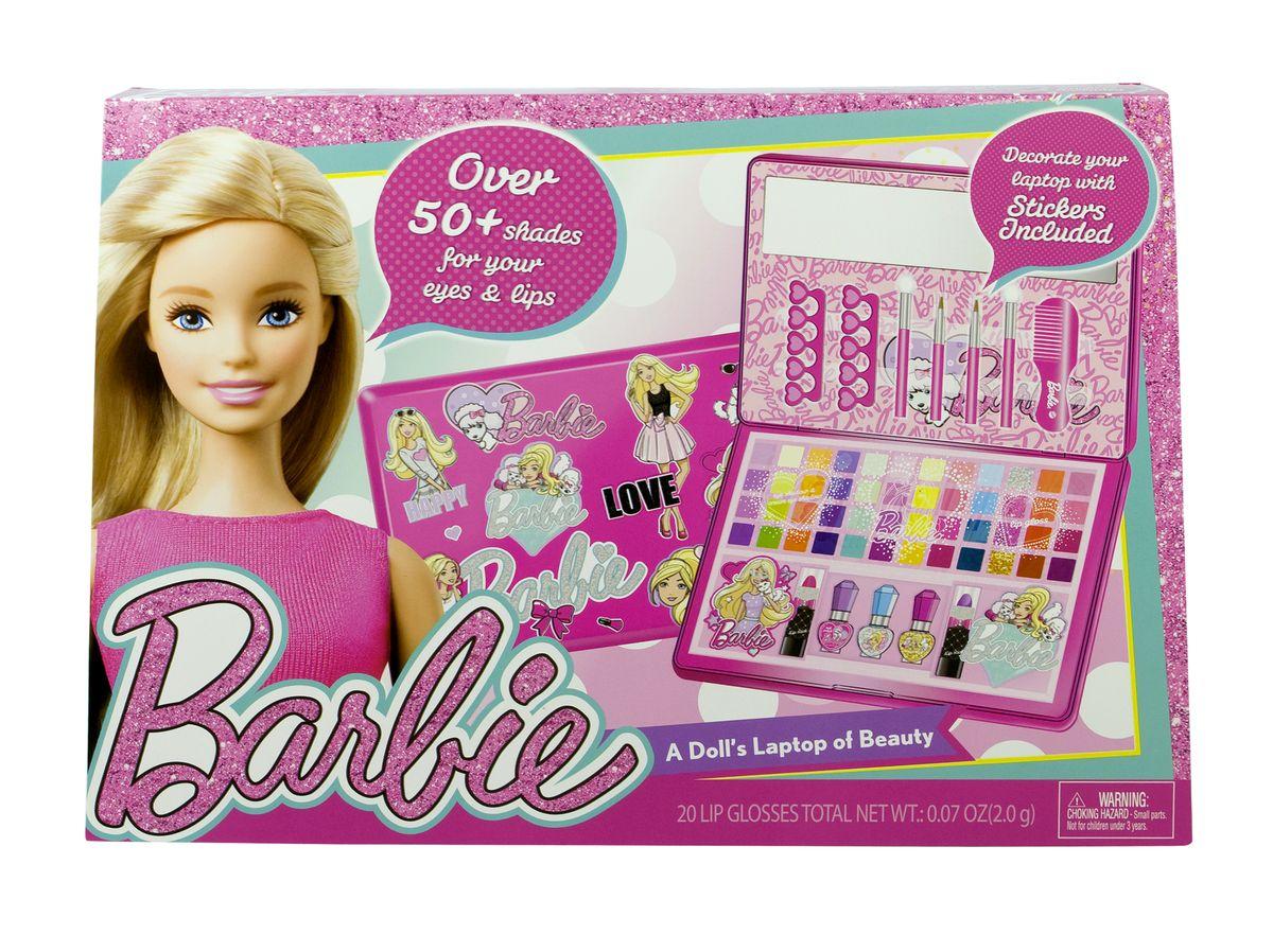 Markwins Игровой набор детской декоративной косметики Barbie в кейсе9601151Состав набора: кейс для хранения косметики в форме ноутбука 1 шт., палитра теней для век из 32 оттенков, палитра блесков для губ из 16 оттенков, губные помады в футлярах 2 шт., лаки для ногтей 3 шт., разделители для пальцев 2 шт., аппликаторы для нанесения теней 2 шт., кисти для нанесения блесков для губ 2 шт., расчёска 1 шт., зеркальце 1 шт., наклейки с изображением Barbie 2 шт., наклейка для украшения ноутбука 1 шт.