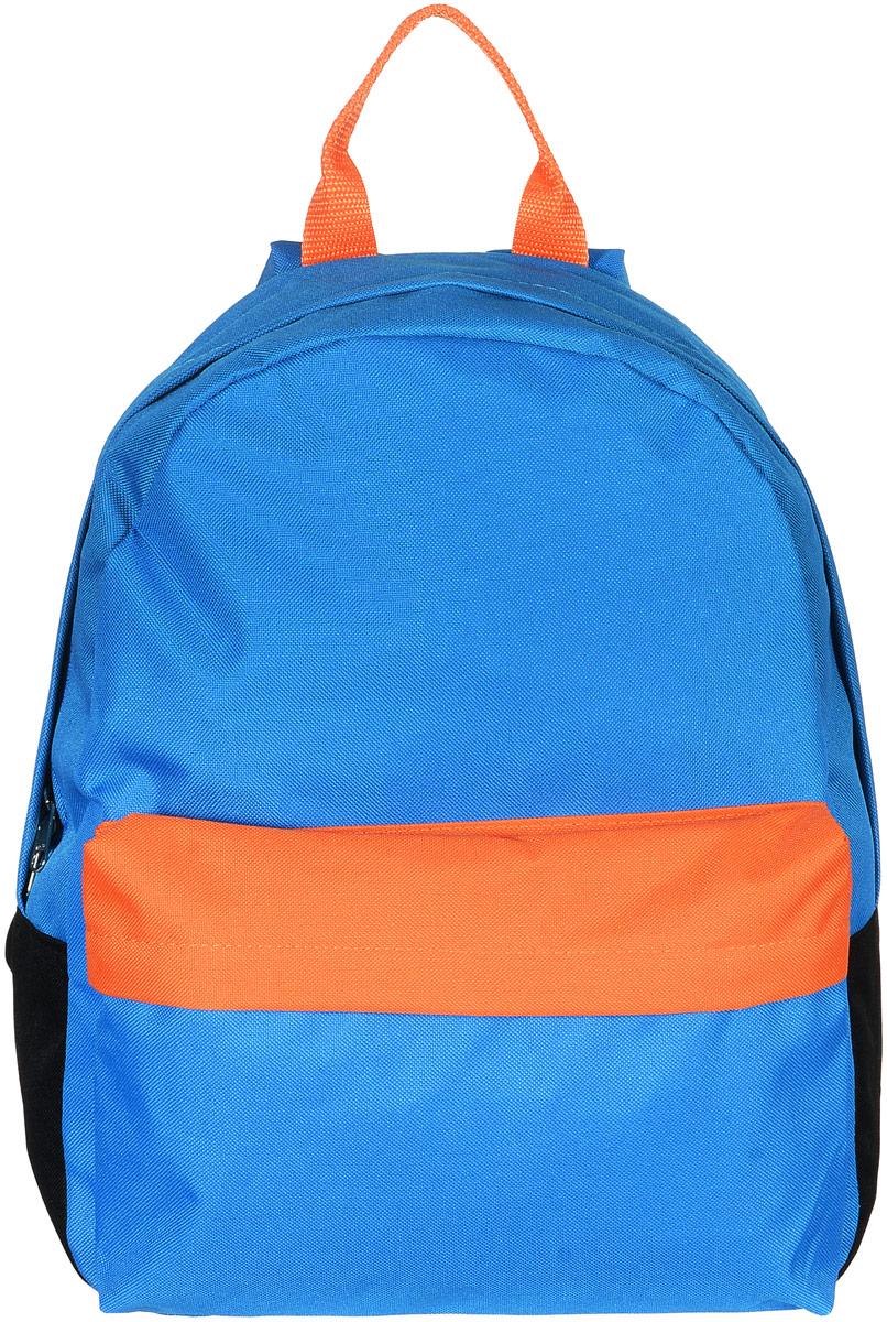 Рюкзак Аntan, цвет: голубой, черный, оранжевый. 6-76-7Яркий рюкзак Аntan выполнен из высококачественного полиэстера. На лицевой стороне расположен объемный накладной карман на молнии. Рюкзак оснащен удобными лямками, длина которых регулируется с помощью пряжек. Изделие закрывается с помощью застежки-молнии. Внутри расположено главное вместительное отделение, которое содержит отделение для ноутбука.
