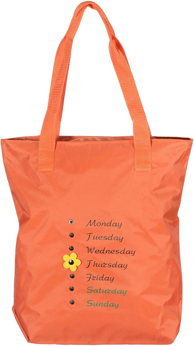 Сумка женская Аntan Неделька, цвет: оранжевый. 1-581-58Модная женская сумка Аntan Неделька, выполненная из текстиля, оформлена на лицевой стороне оригинальным принтом и заклепками. Изделие имеет одно отделение, которое закрывается на застежку-молнию. Внутри сумки находится нашивной карман на застежке-молнии. Сумка оснащена двумя удобными ручками.